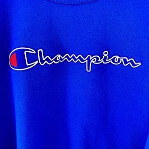 Champion blue fleece crew chainstitch logo XXL NWT